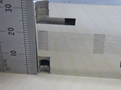 Image of a section of one of the first micro-channel heat exchanger prototypes (half height of the tested ones) made by TWI Ltd using the shims chemically etched by ACE Ltd.